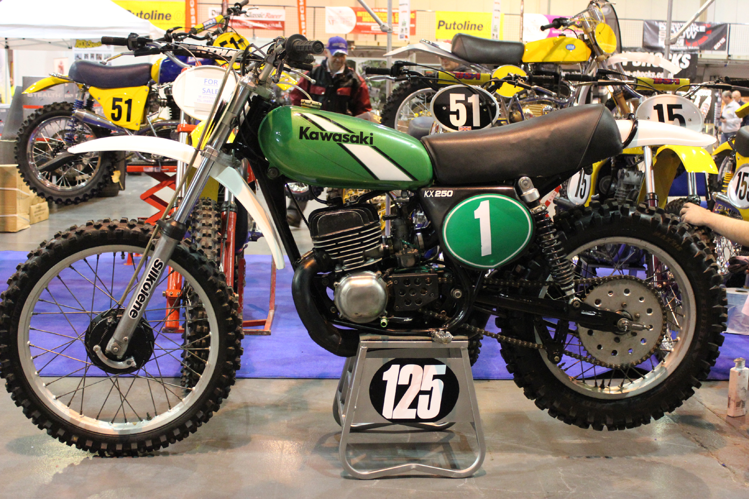 classicdirtbikerider.com-photo by Mr J-2015 Telford classic dirt bike show-EARLY 1970s KAWASAKI KX250 MOTOCROSS BIKE