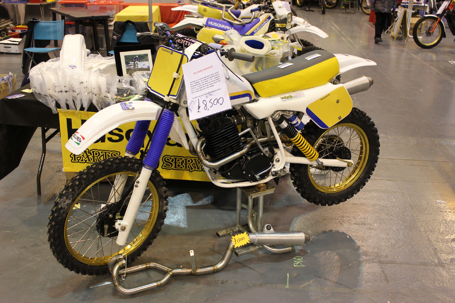 classicdirtbikerider.com-photo by Mr J-2015 Telford classic dirt bike show-HUSQVARNA 510 FOURSTROKE TWINSHOCK MOTOCROSS BIKE FOR SALE £8500