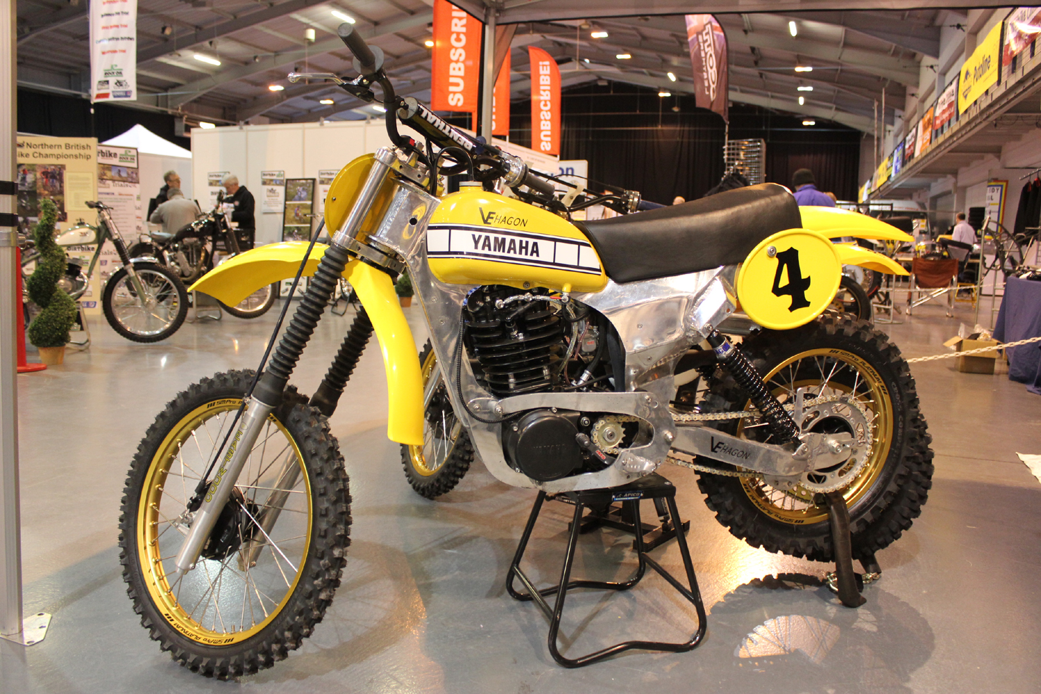 classicdirtbikerider.com-photo by Mr J-2015 Telford classic dirt bike show-VE HAGON FRAMED YAMAHA TWINSHOCK MOTOCROSS BIKE