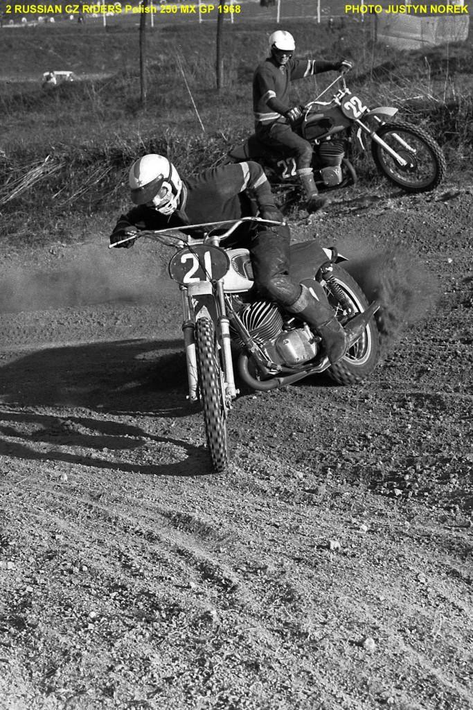 2 RUSSIAN CZ RIDERS Polish 250 MX GP 1968-PHOTO JUSTYN NOREK-classicdirtbikerider.com