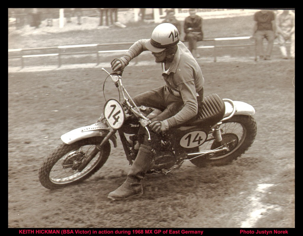 KEITH HICKMAN (BSA Victor) in action during 1968 MX GP of East Germany-classicdirtbikerider.com-Photo Justyn Norek.......