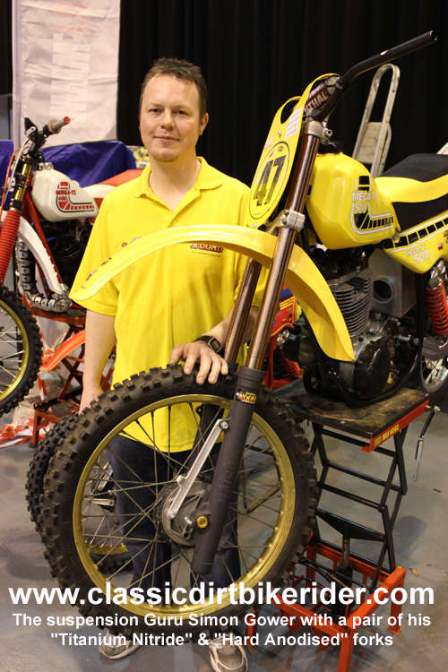 Maico Race Base suspension guru 2016 classic dirtbikeshow Telford sponsored by Hagon shocks show report & pictures photos www.classicdirtbikerider.com