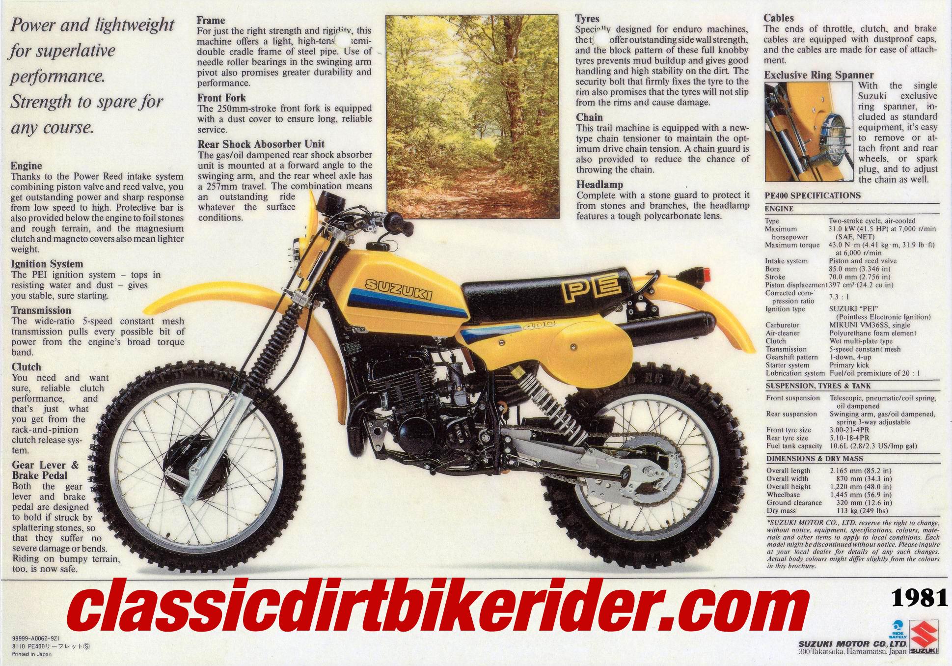 1981 SUZUKI PE400X ORIGINAL ADVERT www.classicdirtbikerider.com