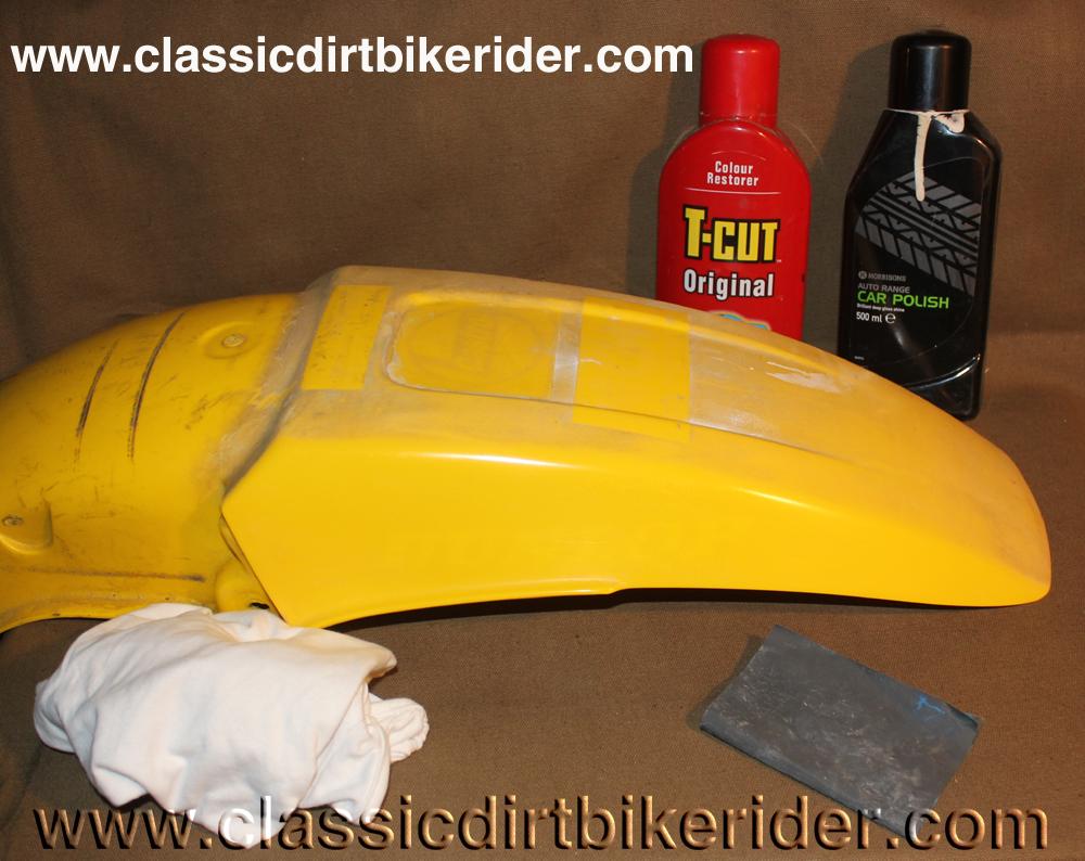 vintage twinshock Evo motocross cr kx rm yz ktm husky maico enduro trials trail bike plastic polishing panels mudguard side panel fuel petrol tank radiator shroud www.classicdirtbikerider.com